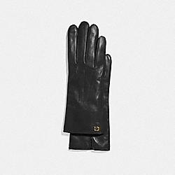 SCULPTED SIGNATURE TECH GLOVES - BLACK - COACH F32957