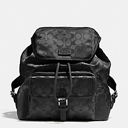 COACH SIGNATURE NYLON BACKPACK - SILVER/BLACK - F32970
