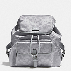 COACH SIGNATURE NYLON BACKPACK - SILVER/LIGHT GREY - F32970