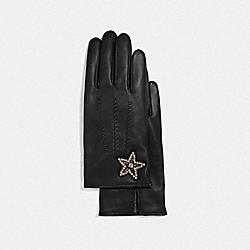 EMBELLISHED STAR LEATHER GLOVES - BLACK - COACH F32975