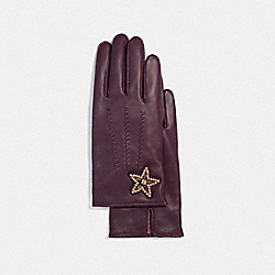 EMBELLISHED STAR LEATHER GLOVES - PLUM - COACH F32975