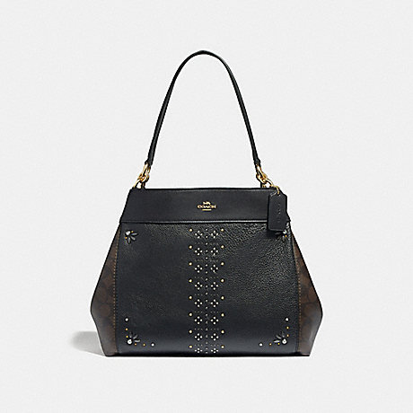 COACH LEXY SHOULDER BAG IN SIGNATURE CANVAS WITH RIVETS - BROWN BLACK/MULTI/LIGHT GOLD - F32977