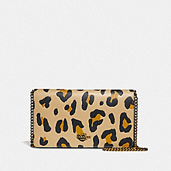 CALLIE FOLDOVER CHAIN CLUTCH WITH LEOPARD PRINT - LEOPARD/BRASS - COACH F32990