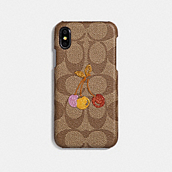 IPHONE X CASE IN SIGNATURE CANVAS WITH CHERRY - KHAKI MULTI - COACH F33037