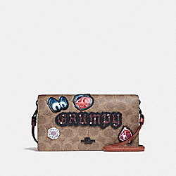 DISNEY X COACH GRUMPY HAYDEN FOLDOVER CROSSBODY CLUTCH - TAN BLACK - COACH F33044