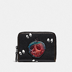 DISNEY X COACH SMALL ZIP AROUND WALLET WITH SPOOKY EYES PRINT - BLACK - COACH F33057