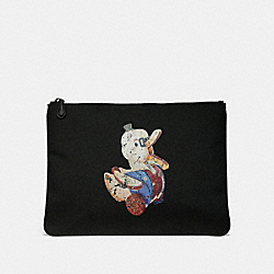 FISHER-PRICE DOODLE DUCK MOTIF LARGE POUCH IN CORDURA - ANTIQUE NICKEL/BLACK MULTI - COACH F33066