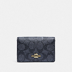 BUSINESS CARD CASE IN SIGNATURE CANVAS - LI/CHARCOAL MIDNIGHT NAVY - COACH F33068