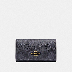 SIX RING KEY CASE IN SIGNATURE CANVAS - LI/CHARCOAL MIDNIGHT NAVY - COACH F33069