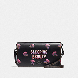 DISNEY X COACH SLEEPING BEAUTY HAYDEN FOLDOVER CROSSBODY CLUTCH - BLACK/MAGENTA - COACH F33082