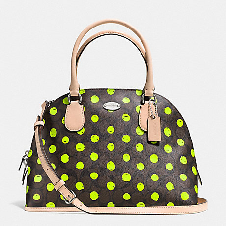 COACH f33260 CORA DOMED SATCHEL IN DOT PRINT CROSSGRAIN LEATHER SILVER/BROWN/NEON YELLOW