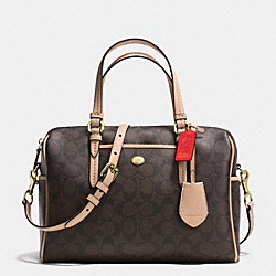 COACH PEYTON SIGNATURE NANCY SATCHEL - BRASS/BROWN/TAN - F33323