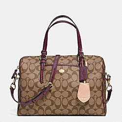 COACH PEYTON SIGNATURE NANCY SATCHEL - IM/KHAKI/SHERRY - F33323