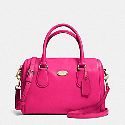 MINI BENNETT SATCHEL IN CROSSGRAIN LEATHER - f33329 -  LIGHT GOLD/PINK RUBY