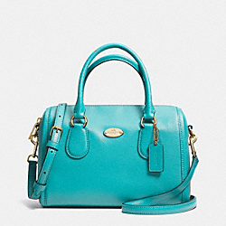 COACH MINI BENNETT SATCHEL IN CROSSGRAIN LEATHER - LIGHT GOLD/CADET BLUE - F33329