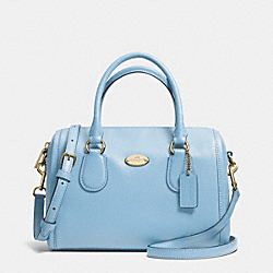 MINI BENNETT SATCHEL IN CROSSGRAIN LEATHER - f33329 -  LIGHT GOLD/PALE BLUE