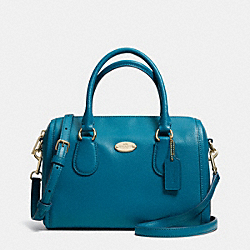 COACH CROSSGRAIN LEATHER MINI BENNETT SATCHEL - LIGHT GOLD/TEAL - F33329