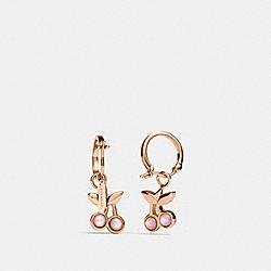 CHERRY HUGGIE EARRINGS - PINK/ROSEGOLD - COACH F33367