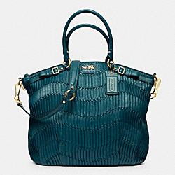 MADISON GATHERED LEATHER LINDSEY NORTH/SOUTH SATCHEL - f33371 - BRASS/DARK TEAL