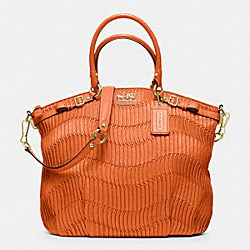 MADISON GATHERED LEATHER LINDSEY NORTH/SOUTH SATCHEL - f33371 - BRASS/ORANGE