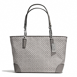 COACH MADISON OP ART NEEDLEPOINT EAST/WEST TOTE - SILVER/LIGHT GREY - F33372