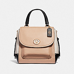 FAYE BACKPACK IN COLORBLOCK - BEECHWOOD/LIGHT GOLD - COACH F33401