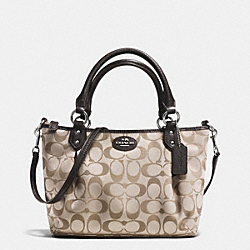 COACH COLETTE SIGNATURE MINI FASHION SATCHEL - SILVER/KHAKI/MAHOGANY - F33416
