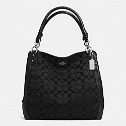 COACH COLETTE SIGNATURE HOBO - SILVER/BLACK - F33424