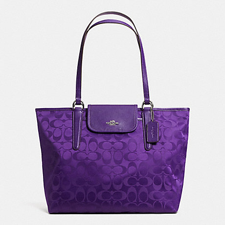 COACH WARD TOTE IN SIGNATURE -  SILVER/VIOLET - f33475