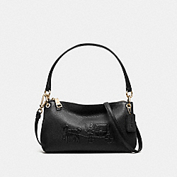 EMBOSSED HORSE AND CARRIAGE CHARLEY CROSSBODY IN PEBBLE LEATHER - f33521 - LIGHT GOLD/BLACK