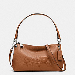 EMBOSSED HORSE AND CARRIAGE CHARLEY CROSSBODY IN PEBBLE LEATHER - f33521 - SILVER/SADDLE