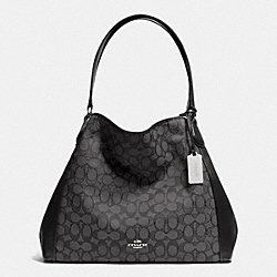 COACH EDIE SHOULDER BAG IN SIGNATURE - SILVER/BLACK SMOKE/BLACK - F33523