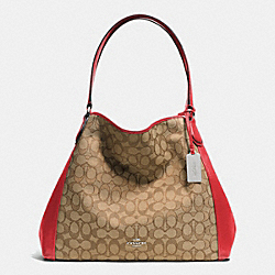 COACH EDIE SHOULDER BAG IN SIGNATURE - SILVER/KHAKI/TRUE RED - F33523