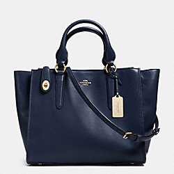 CROSBY CARRYALL IN LEATHER - f33545 - LIGHT GOLD/NAVY