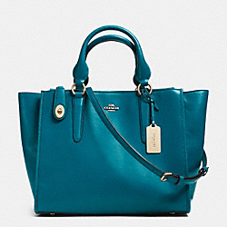 COACH CROSBY CARRYALL IN LEATHER - LIGHT GOLD/TEAL - F33545