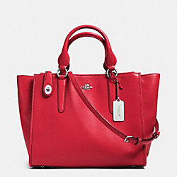 CROSBY CARRYALL IN LEATHER - f33545 - SILVER/TRUE RED