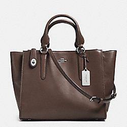 CROSBY CARRYALL IN LEATHER - f33545 - SILVER/MINK