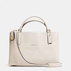 TURNLOCK BOROUGH BAG IN EMBOSSED TEXTURED LEATHER - LIGHT GOLD/CHALK - COACH F33546