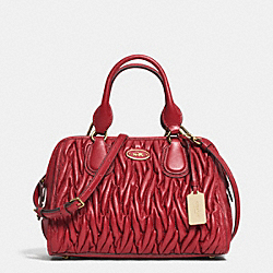 COACH GATHERED LTH SM STCH;LI/DE3 - LIGHT GOLD/RED CURRANT - F33550