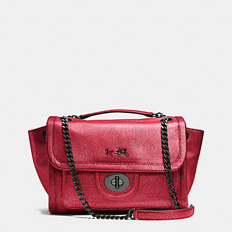 COACH RANGER FLAP CROSSBODY IN METALLIC LEATHER -  VA/RED - f33553