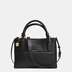 COACH MINI TURNLOCK BOROUGH BAG IN PEBBLE LEATHER - LIGHT GOLD/BLACK - F33562