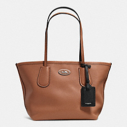 COACH TAXI TOTE 24 IN LEATHER - SILVER/SADDLE - COACH F33577