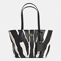 COACH COACH TAXI TOTE 24 IN ZEBRA PRINT LEATHER - LIGHT GOLD/BLACK WHITE - F33588