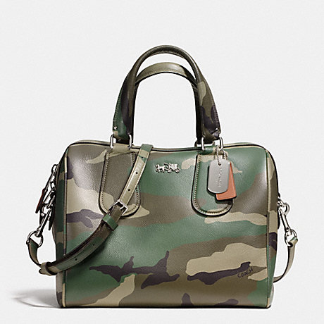 COACH SURREY SATCHEL IN CAMO PRINT CROSSGRAIN LEATHER -  SILVER/GREEN MULTI - f33601