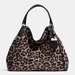 COACH LARGE EDIE SHOULDER BAG IN PRINTED HAIRCALF - LIGHT GOLD/BROWN MULTI - F33605