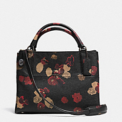 COACH SMALL TURNLOCK BOROUGH BAG IN FLORAL PRINT LEATHER - BN/BLACK MULTI - F33623