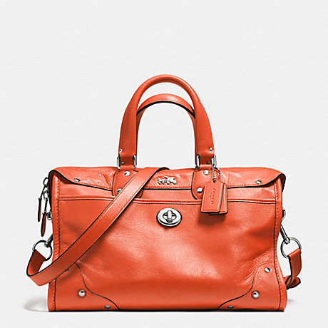 COACH f33689 RHYDER SATCHEL IN CROSSGRAIN LEATHER  SILVER/CORAL