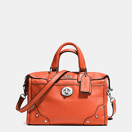 COACH RHYDER 24 SATCHEL IN LEATHER - SILVER/CORAL - f33690
