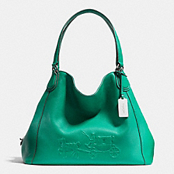COACH EMBOSSED HORSE AND CARRIAGE EDIE SHOULDER BAG IN PEBBLE LEATHER - SILVER/JADE - F33728