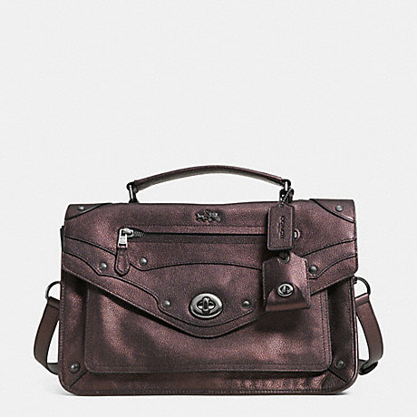 COACH RHYDER MESSENGER IN METALLIC LEATHER - QBBRZ - f33738
